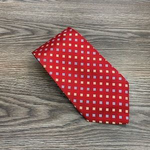Tom James XL Red w/ Blue & Gold Check Tie